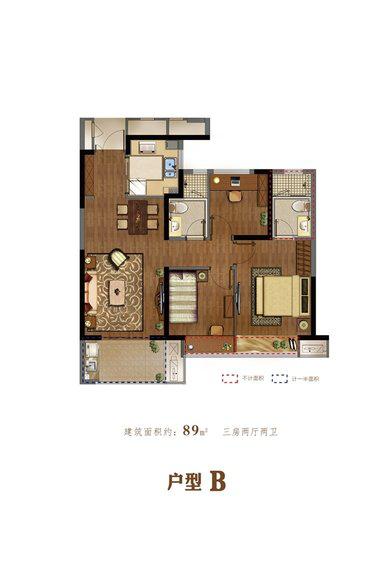 荣安·翡翠半岛89方户型图